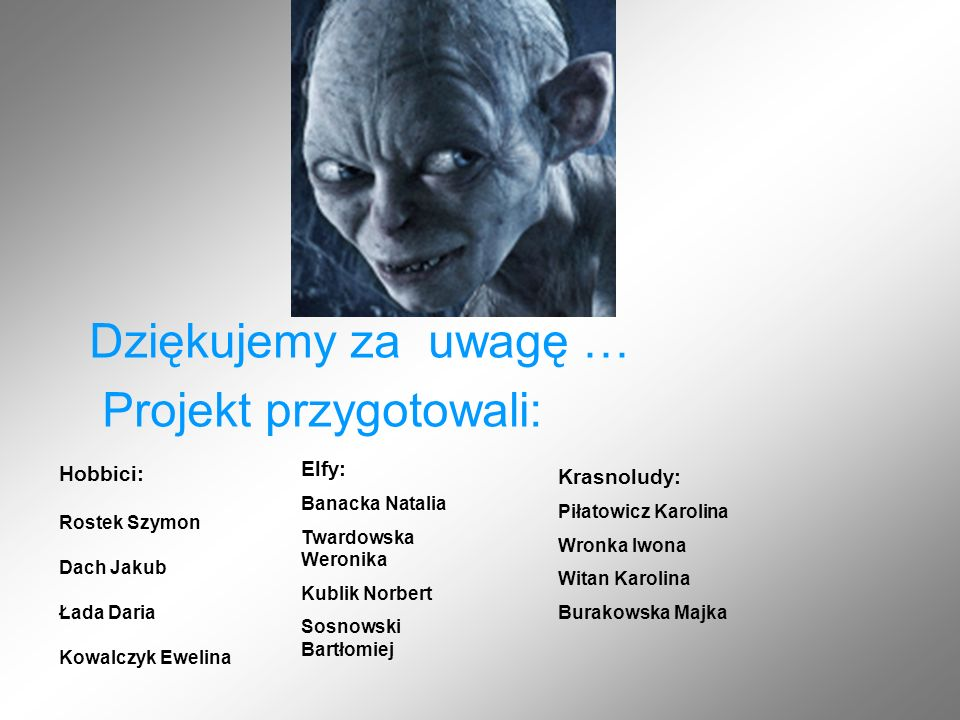 Hobbici: Rostek Szymon Dach Jakub Łada Daria Kowalczyk Ewelina