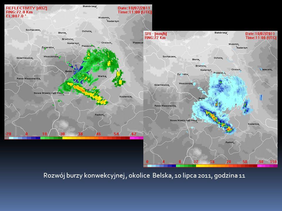 Rozwój burzy konwekcyjnej , okolice Belska, 10 lipca 2011, godzina 11