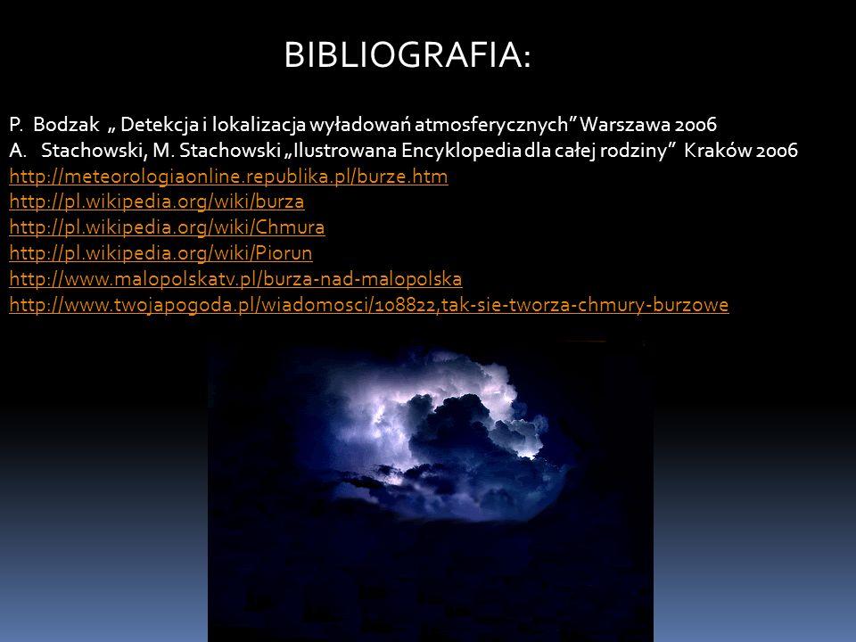 """BIBLIOGRAFIA: P. Bodzak """" Detekcja i lokalizacja wyładowań atmosferycznych Warszawa 2006."""