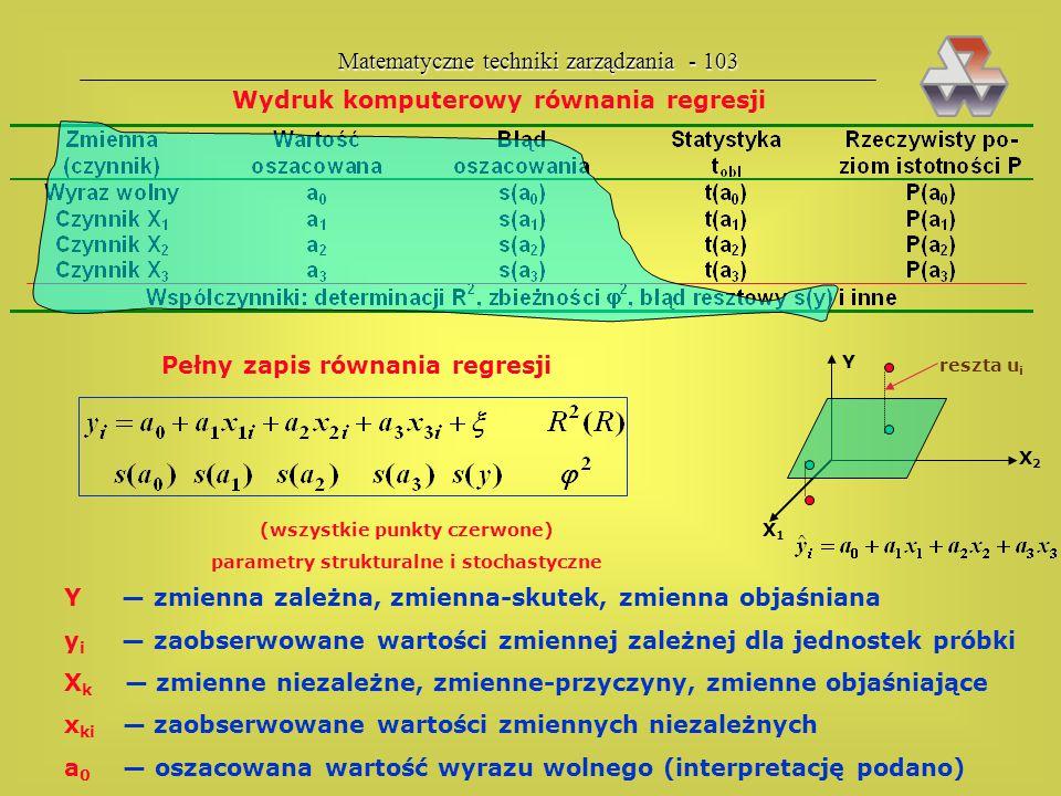 (wszystkie punkty czerwone) parametry strukturalne i stochastyczne