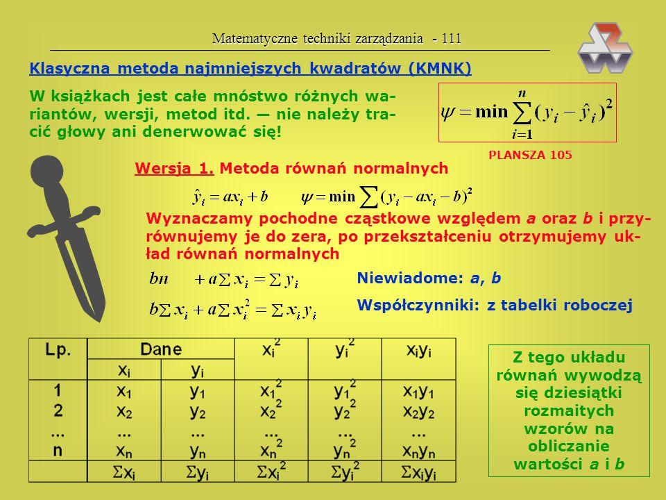  Matematyczne techniki zarządzania - 111