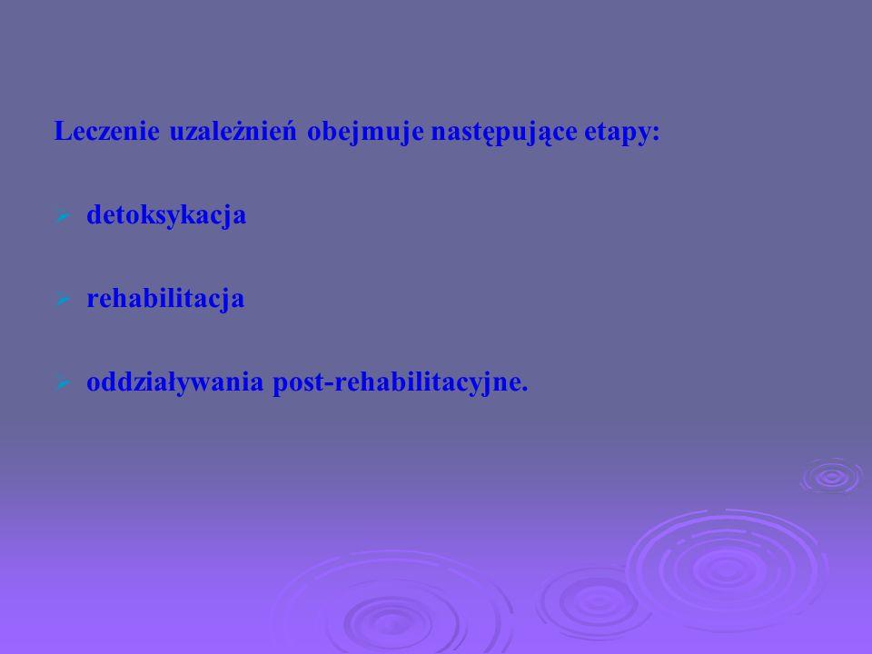 Leczenie uzależnień obejmuje następujące etapy: