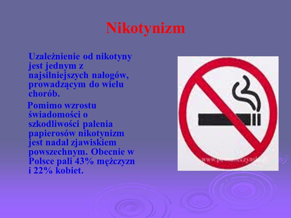 Nikotynizm Uzależnienie od nikotyny jest jednym z najsilniejszych nałogów, prowadzącym do wielu chorób.