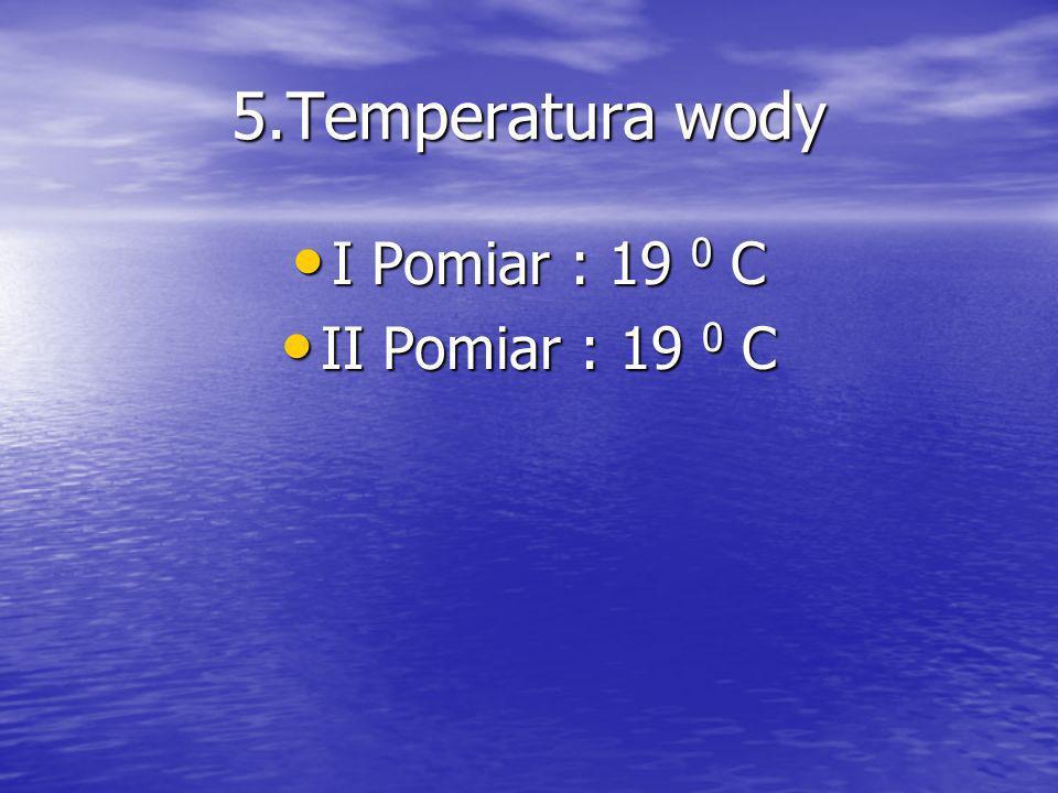5.Temperatura wody I Pomiar : 19 0 C II Pomiar : 19 0 C