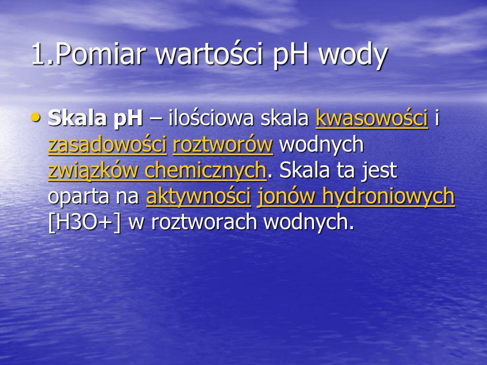 1.Pomiar wartości pH wody