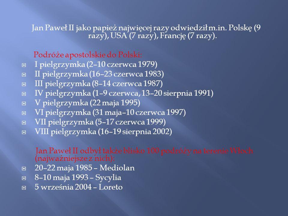 Jan Paweł II jako papież najwięcej razy odwiedził m. in