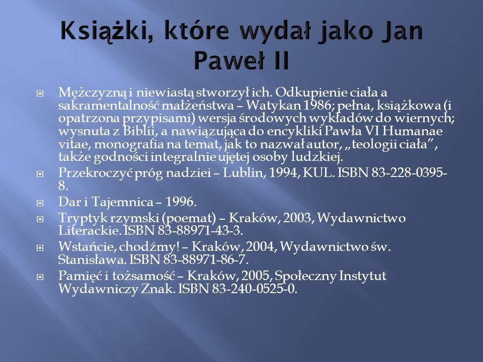 Książki, które wydał jako Jan Paweł II