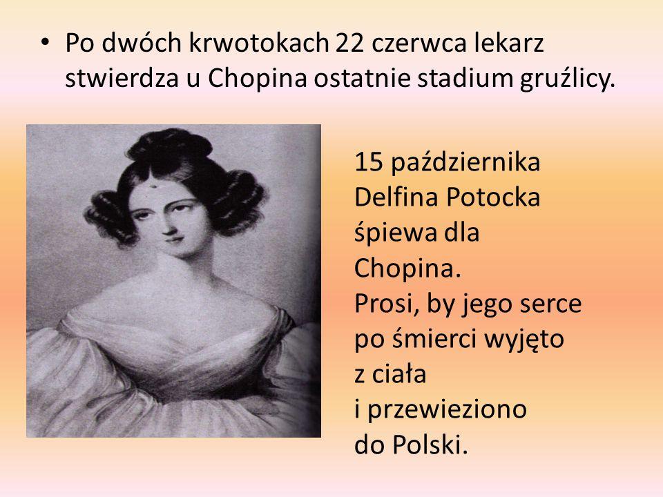 Po dwóch krwotokach 22 czerwca lekarz stwierdza u Chopina ostatnie stadium gruźlicy.