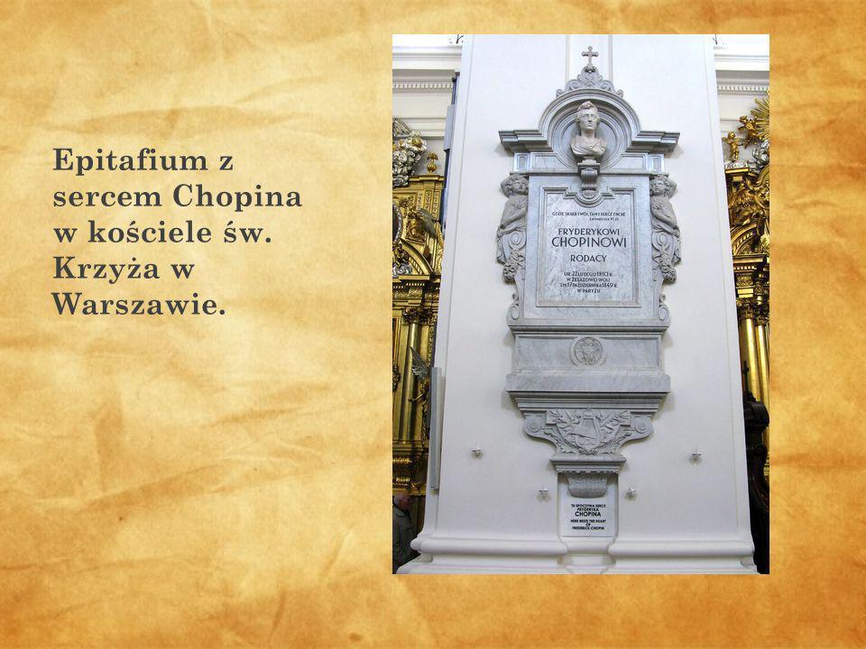 Epitafium z sercem Chopina w kościele św. Krzyża w Warszawie.
