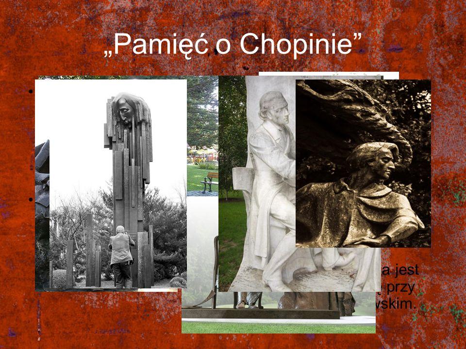 """""""Pamięć o Chopinie Po śmierci Fryderyka Chopina powstało wiele pomników upamiętniających jego dokonania muzyczne."""