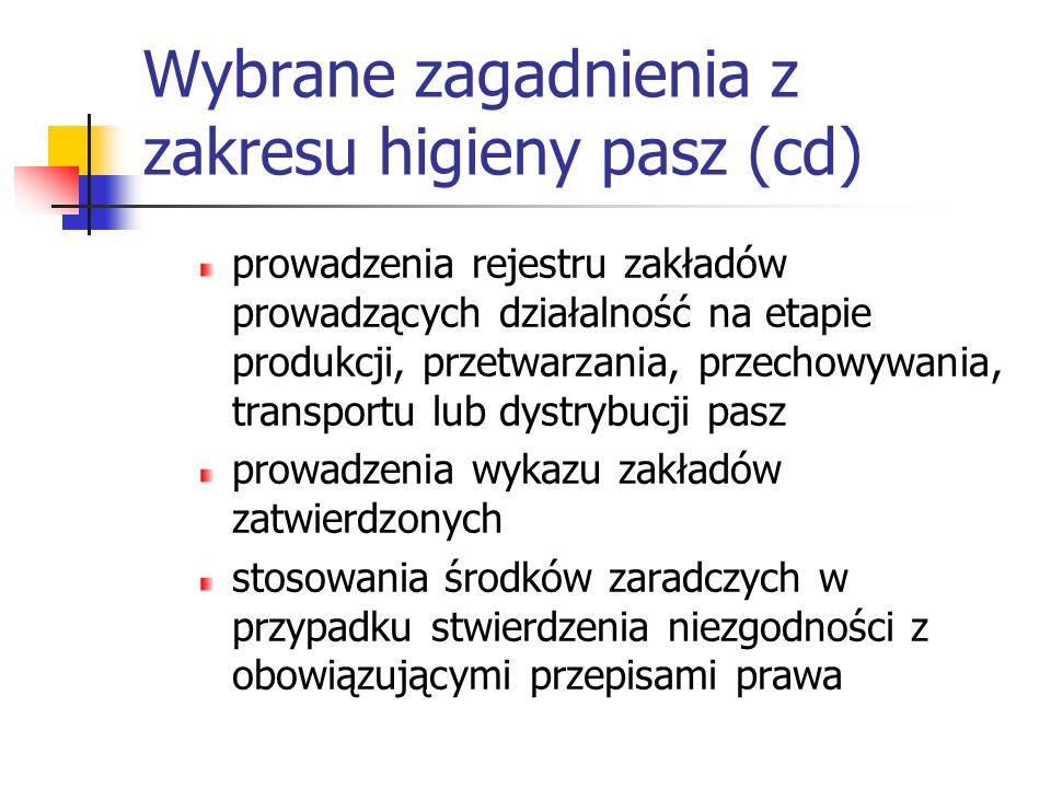 Wybrane zagadnienia z zakresu higieny pasz (cd)
