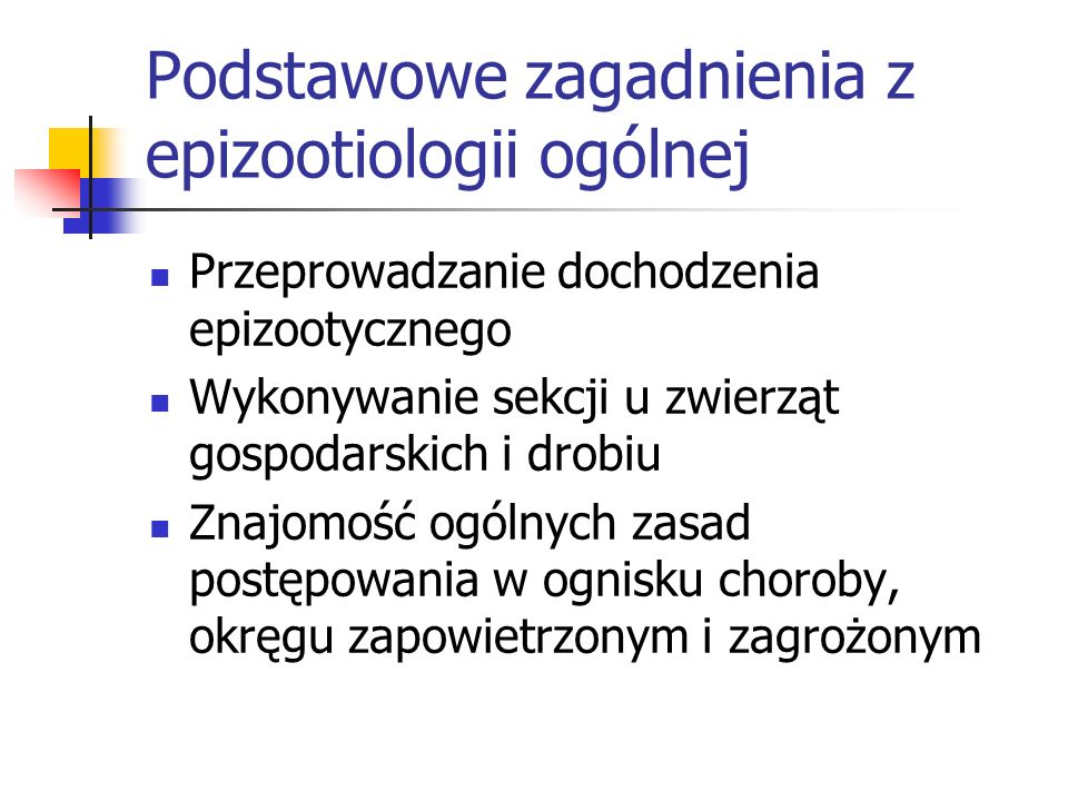Podstawowe zagadnienia z epizootiologii ogólnej