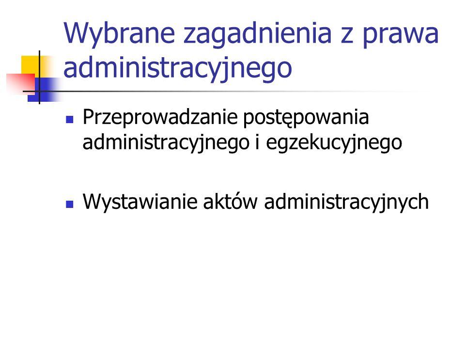 Wybrane zagadnienia z prawa administracyjnego