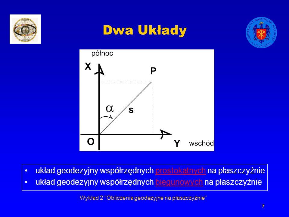 Wykład 2 Obliczenia geodezyjne na płaszczyźnie