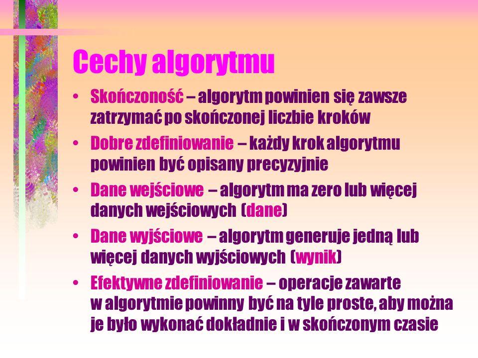 Cechy algorytmuSkończoność – algorytm powinien się zawsze zatrzymać po skończonej liczbie kroków.