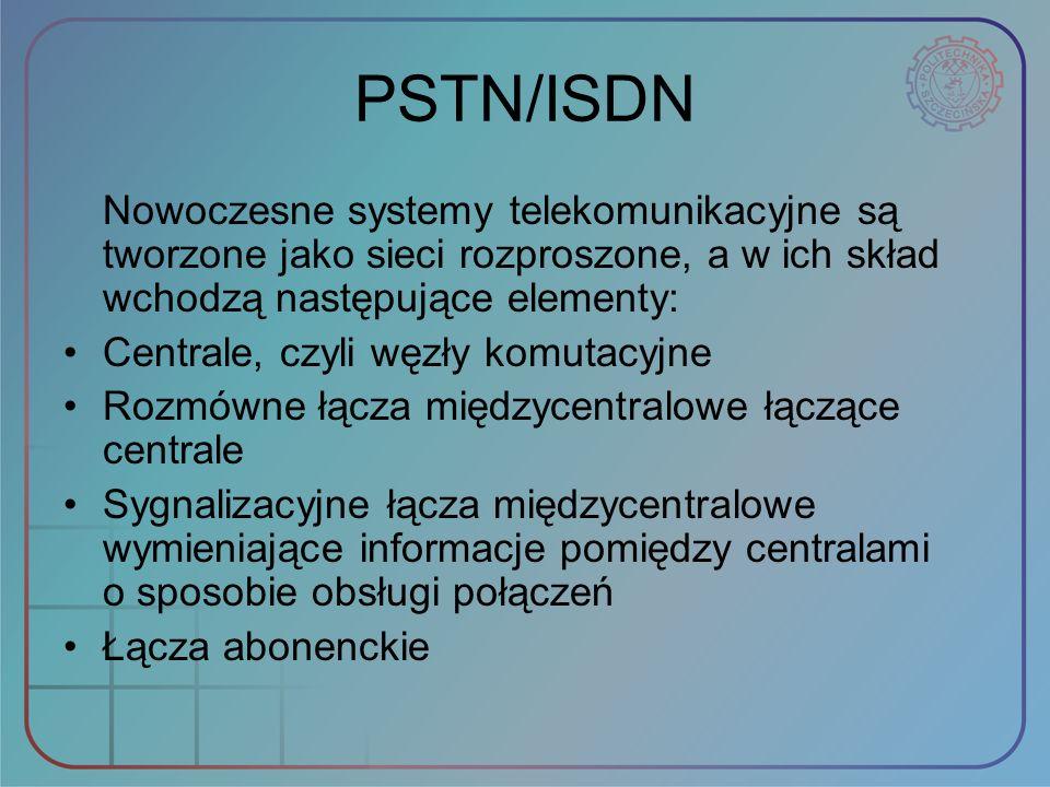 PSTN/ISDN Nowoczesne systemy telekomunikacyjne są tworzone jako sieci rozproszone, a w ich skład wchodzą następujące elementy: