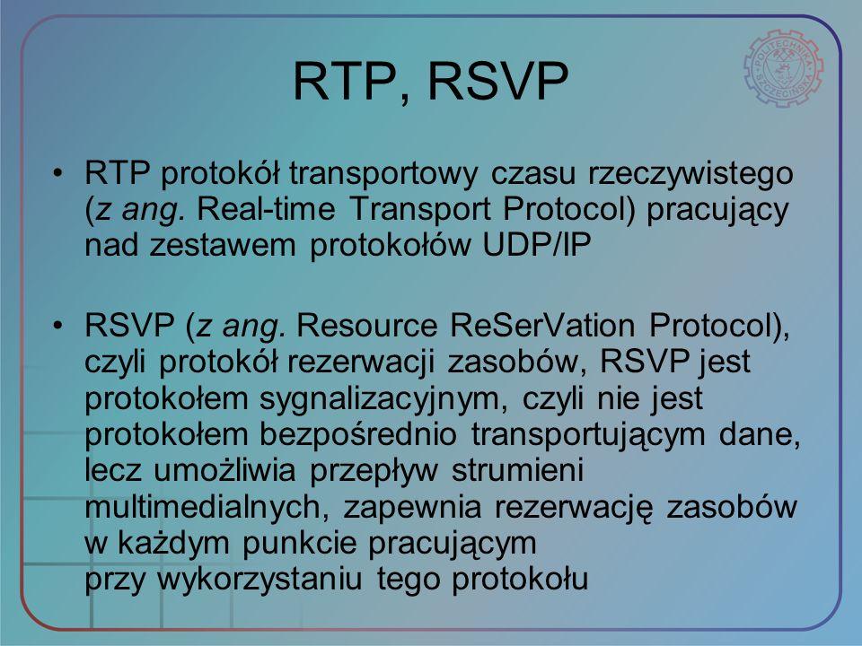 RTP, RSVP RTP protokół transportowy czasu rzeczywistego (z ang. Real‑time Transport Protocol) pracujący nad zestawem protokołów UDP/IP.