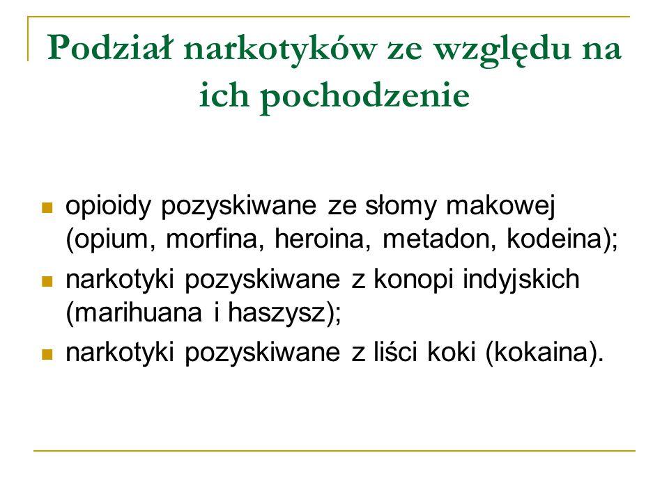 Podział narkotyków ze względu na ich pochodzenie