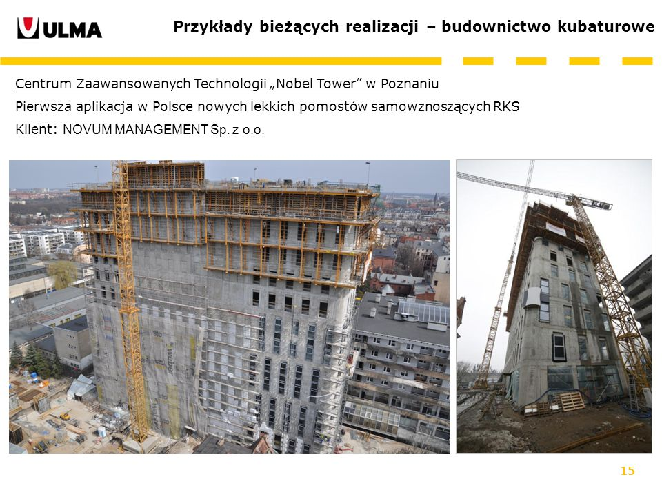 Przykłady bieżących realizacji – budownictwo kubaturowe