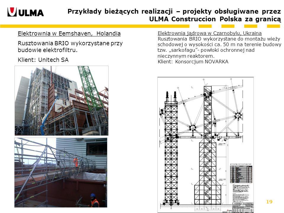 Przykłady bieżących realizacji – projekty obsługiwane przez ULMA Construccion Polska za granicą