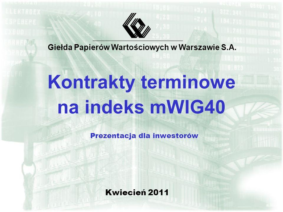 Kontrakty terminowe na indeks mWIG40 Prezentacja dla inwestorów