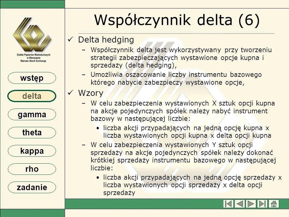 Współczynnik delta (6) Delta hedging Wzory