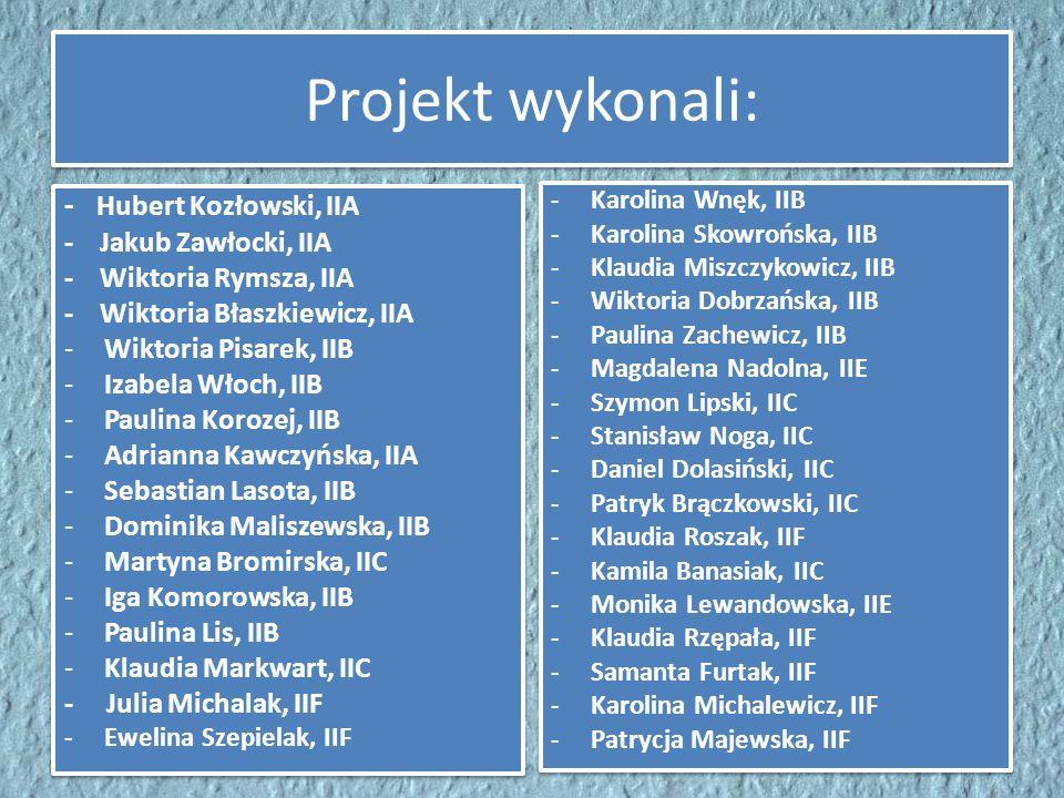 Projekt wykonali: - Hubert Kozłowski, IIA - Jakub Zawłocki, IIA