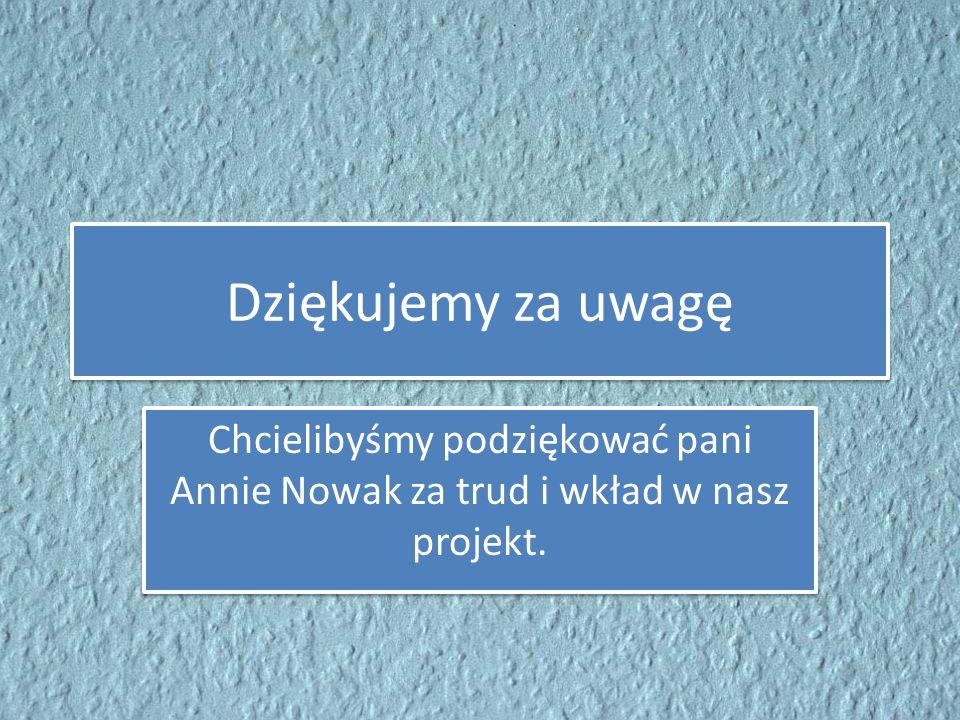 Dziękujemy za uwagę Chcielibyśmy podziękować pani Annie Nowak za trud i wkład w nasz projekt.