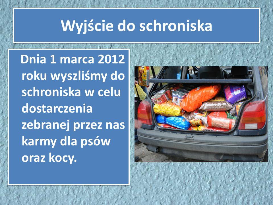 Wyjście do schroniska Dnia 1 marca 2012 roku wyszliśmy do schroniska w celu dostarczenia zebranej przez nas karmy dla psów oraz kocy.