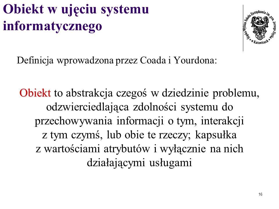 Obiekt w ujęciu systemu informatycznego