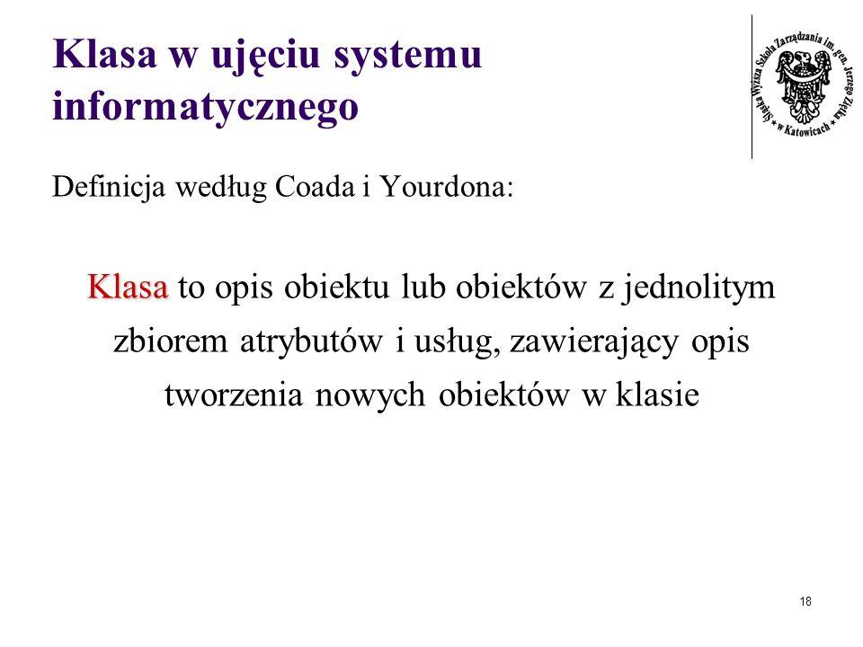 Klasa w ujęciu systemu informatycznego