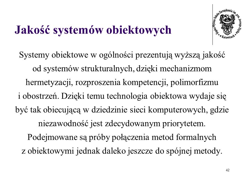 Jakość systemów obiektowych
