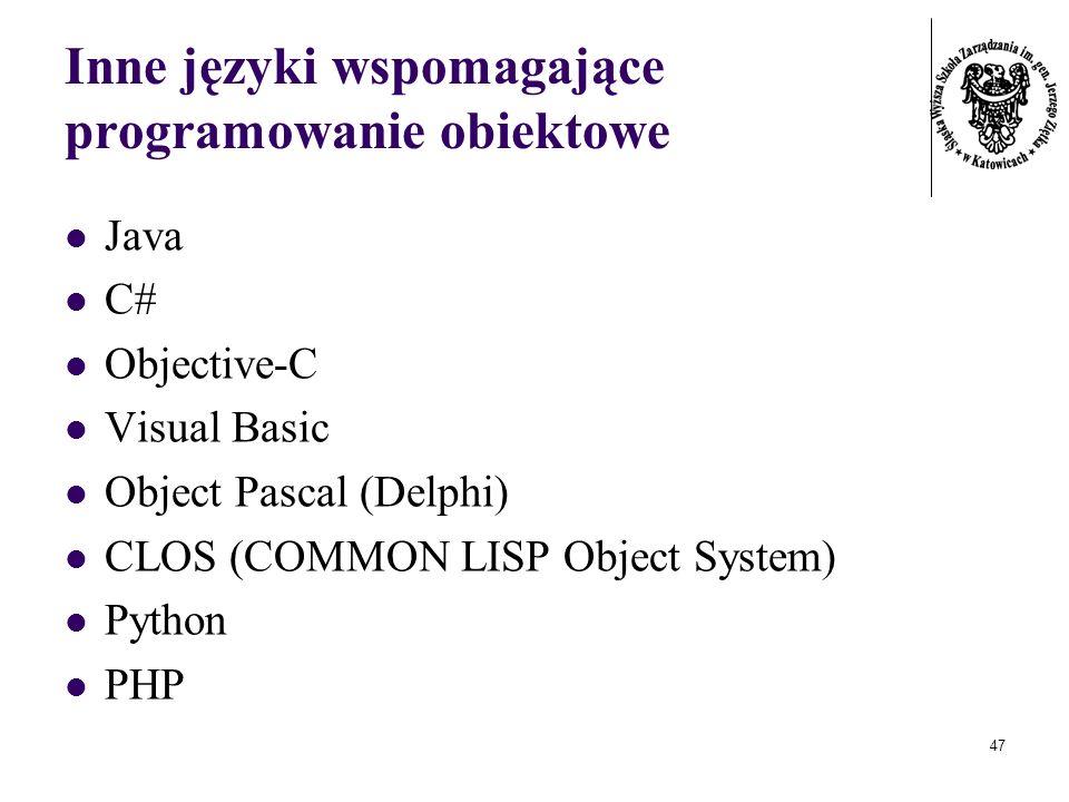 Inne języki wspomagające programowanie obiektowe