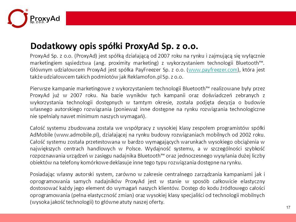 Dodatkowy opis spółki ProxyAd Sp. z o.o.