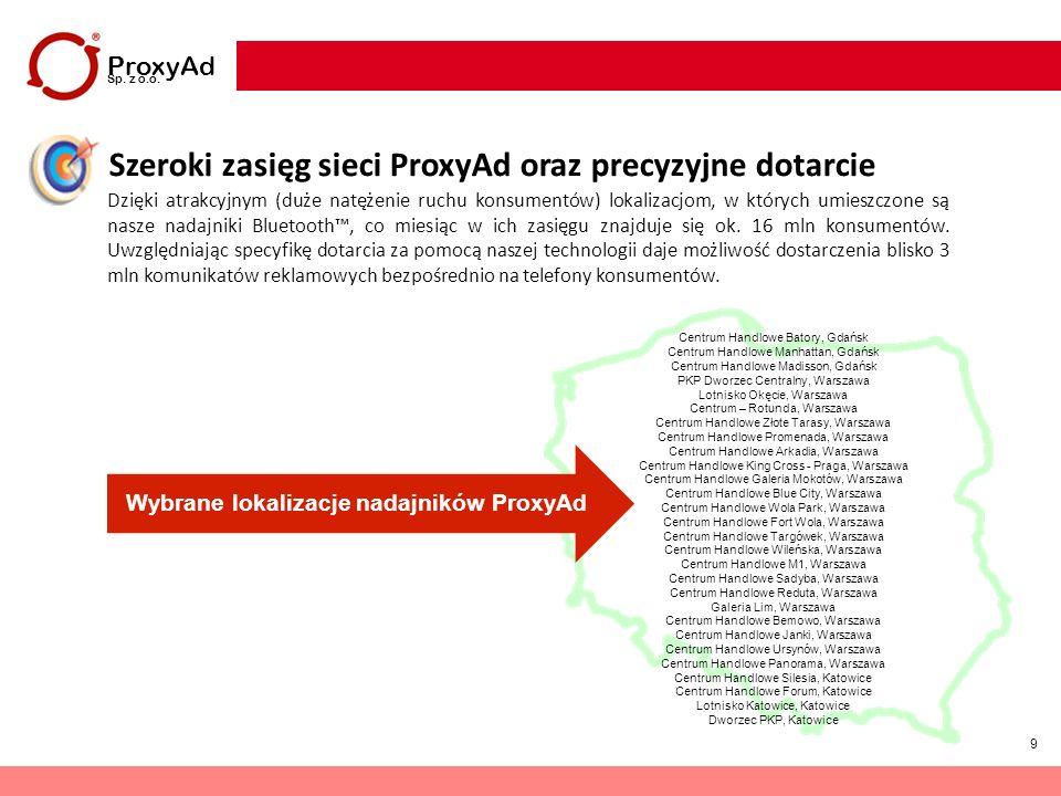 Wybrane lokalizacje nadajników ProxyAd