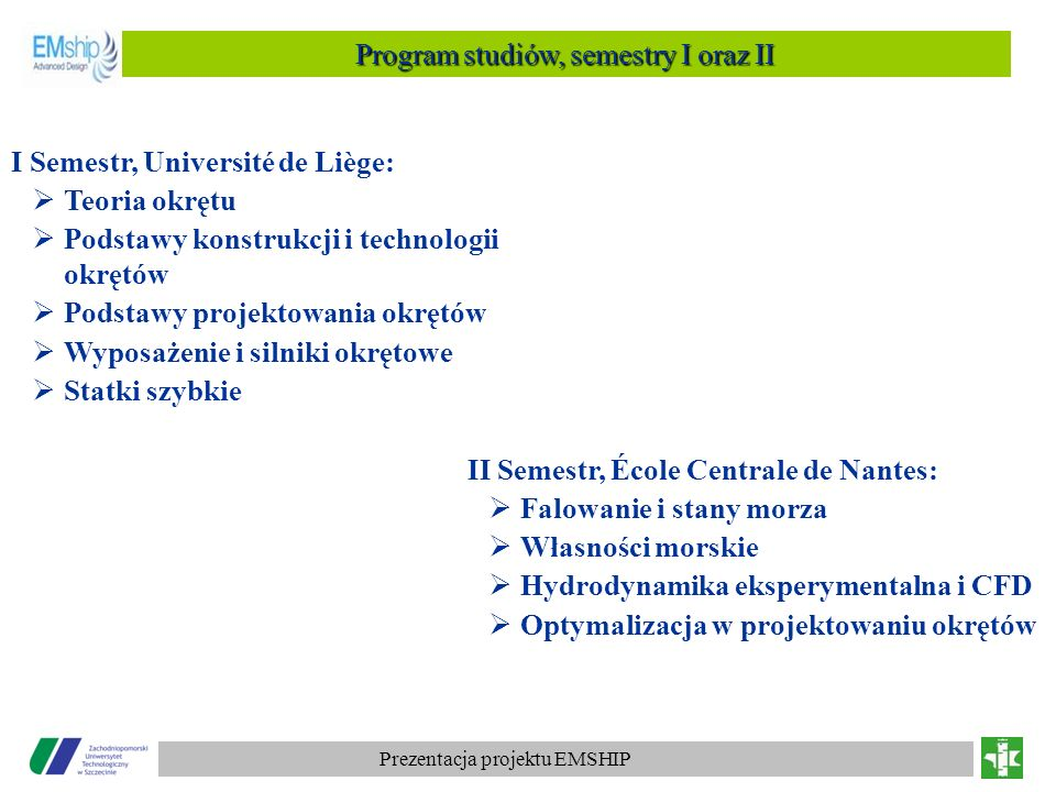 Program studiów, semestry I oraz II
