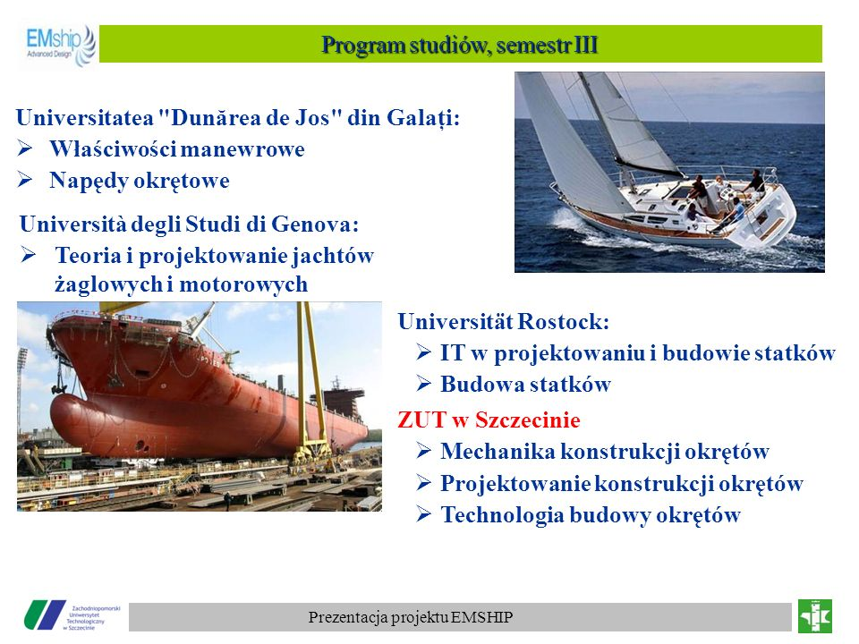Program studiów, semestr III