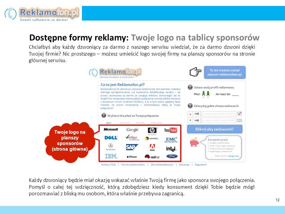 Twoje logo na planszy sponsorów (strona główna)