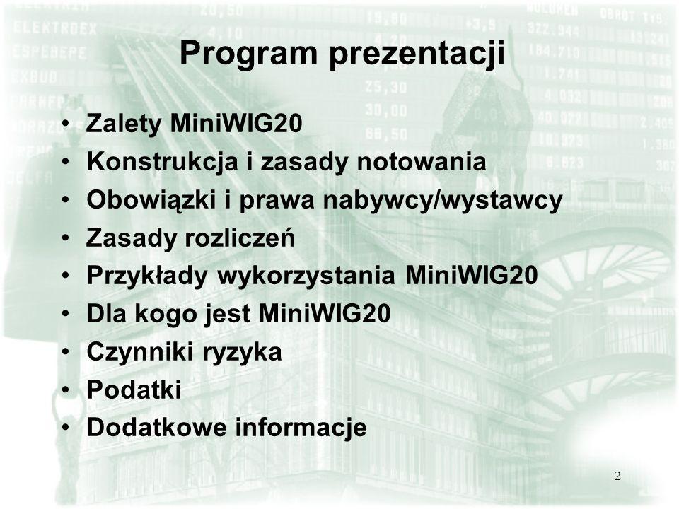 Program prezentacji Zalety MiniWIG20 Konstrukcja i zasady notowania