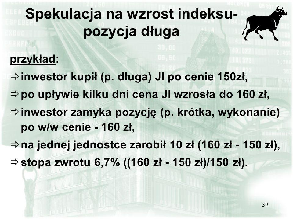 Spekulacja na wzrost indeksu- pozycja długa
