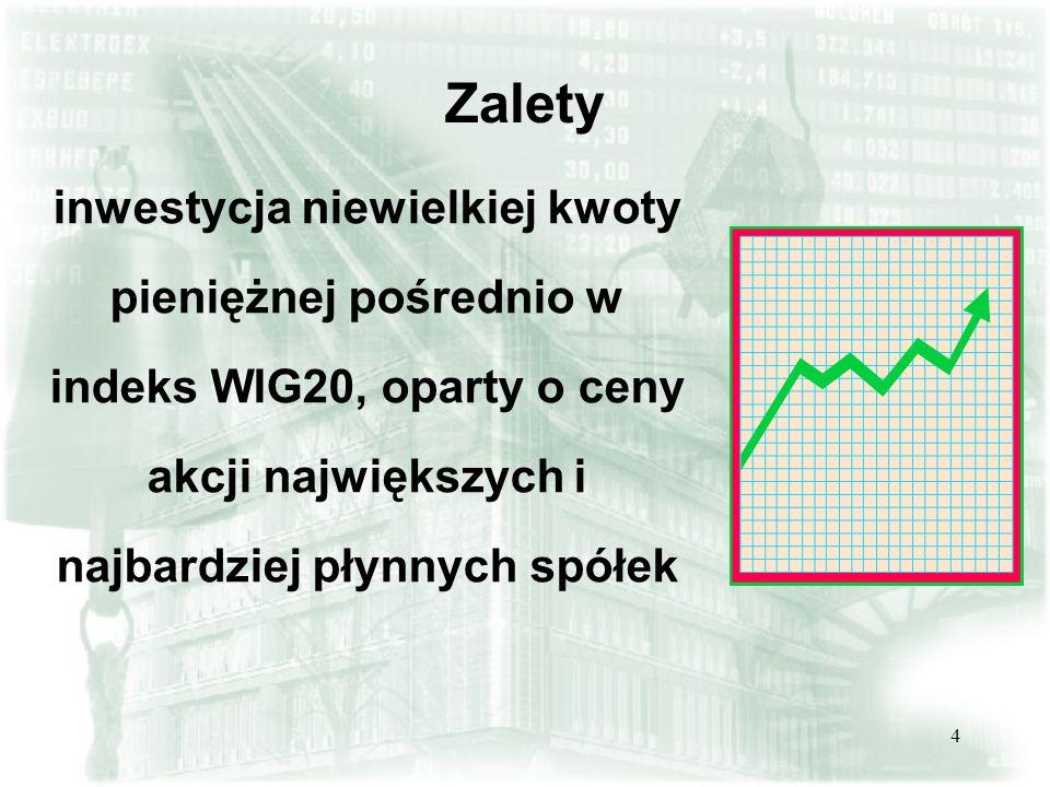 Zaletyinwestycja niewielkiej kwoty pieniężnej pośrednio w indeks WIG20, oparty o ceny akcji największych i najbardziej płynnych spółek.