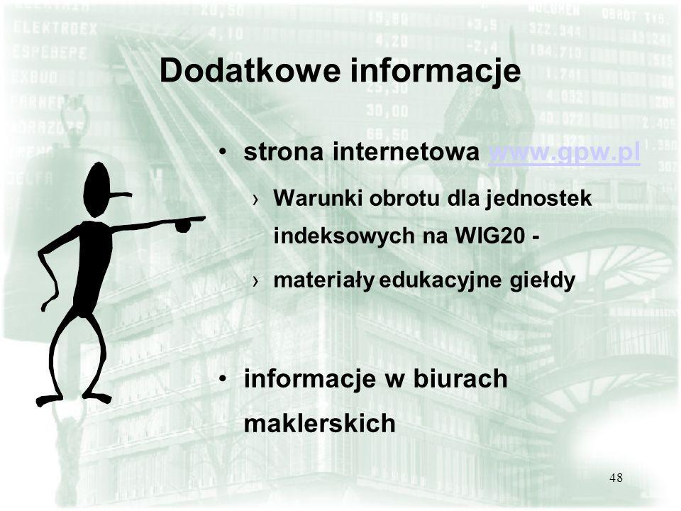 Dodatkowe informacje strona internetowa www.gpw.pl