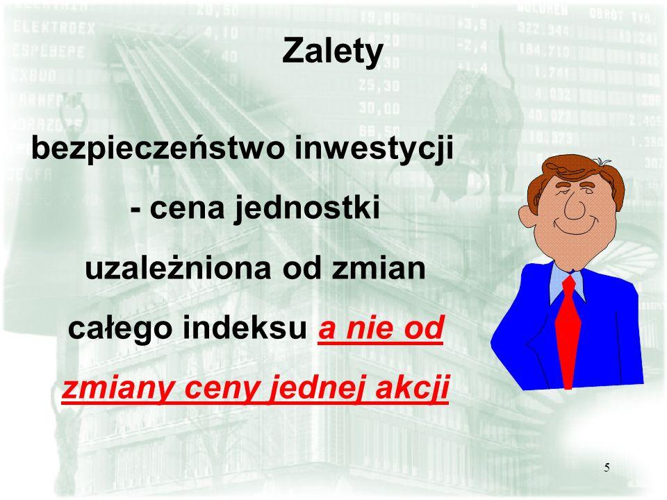 Zaletybezpieczeństwo inwestycji - cena jednostki uzależniona od zmian całego indeksu a nie od zmiany ceny jednej akcji.