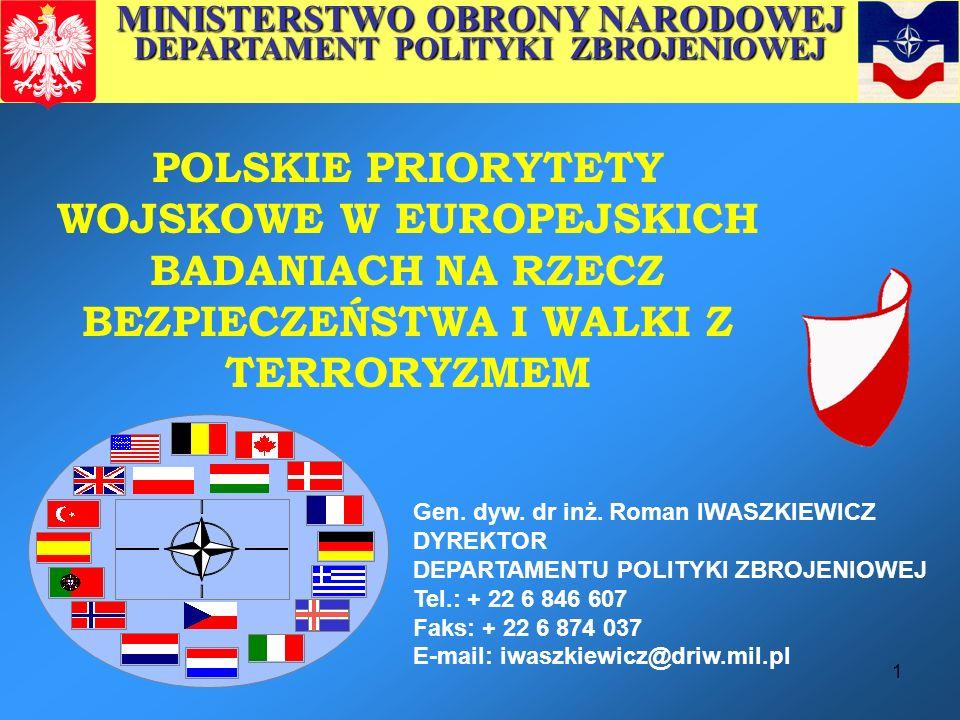 MINISTERSTWO OBRONY NARODOWEJ DEPARTAMENT POLITYKI ZBROJENIOWEJ
