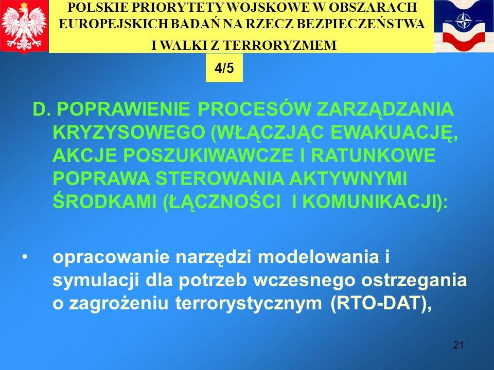 POLSKIE PRIORYTETY WOJSKOWE W OBSZARACH EUROPEJSKICH BADAŃ NA RZECZ BEZPIECZEŃSTWA I WALKI Z TERRORYZMEM