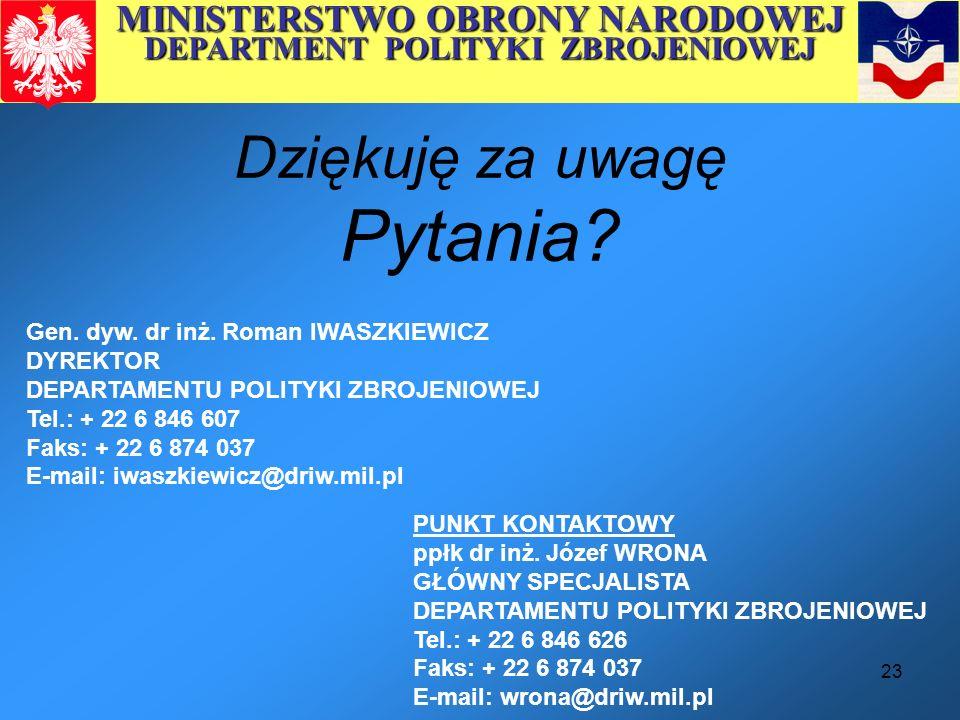 MINISTERSTWO OBRONY NARODOWEJ DEPARTMENT POLITYKI ZBROJENIOWEJ