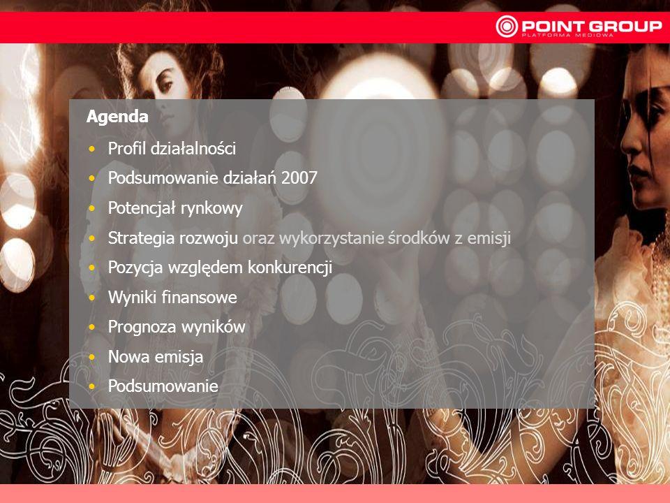 AgendaProfil działalności. Podsumowanie działań 2007. Potencjał rynkowy. Strategia rozwoju oraz wykorzystanie środków z emisji.