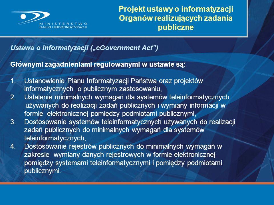 Projekt ustawy o informatyzacji Organów realizujących zadania publiczne