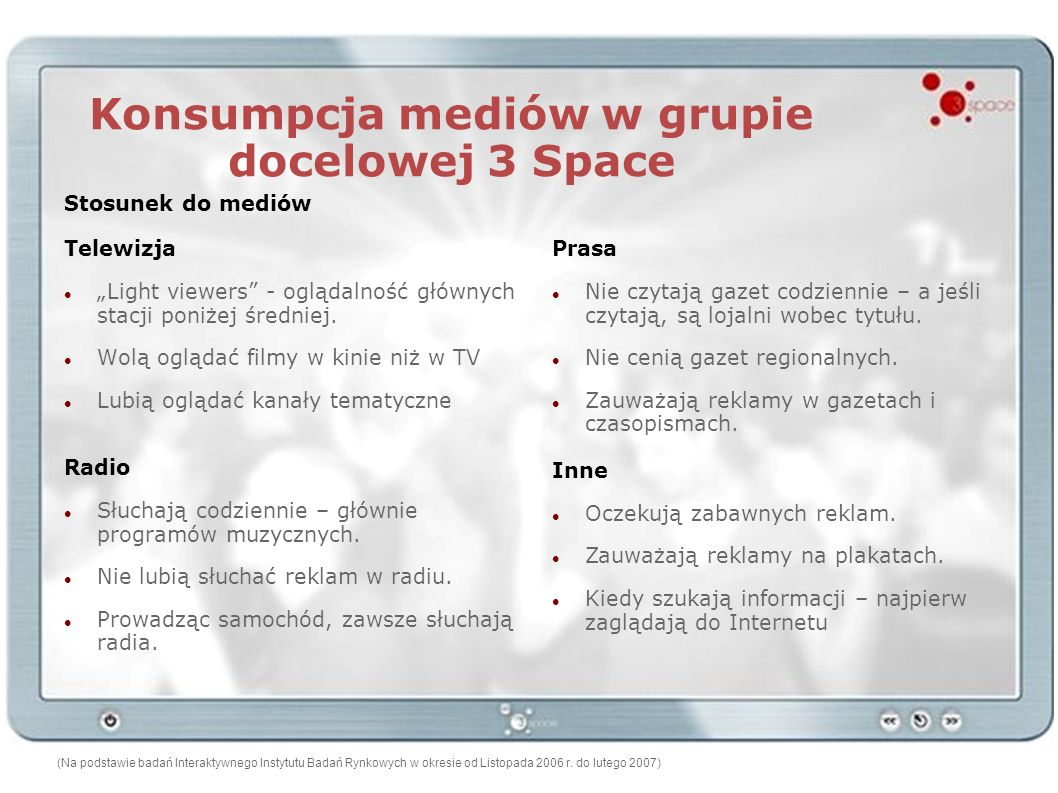 Konsumpcja mediów w grupie docelowej 3 Space