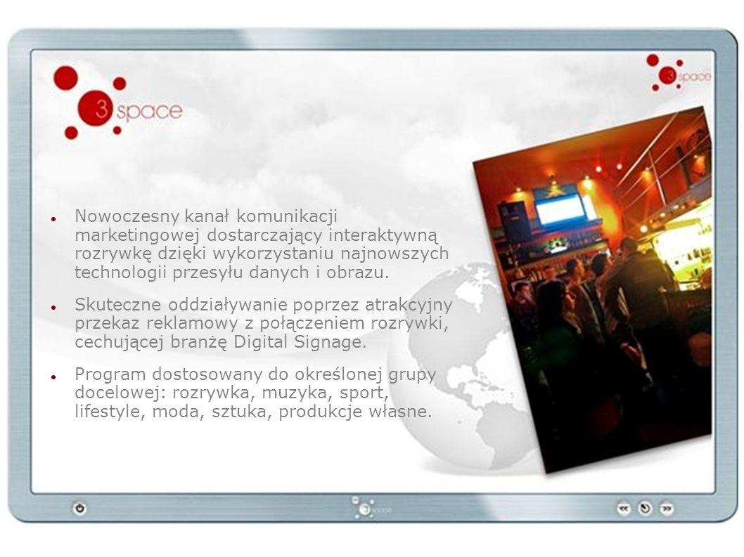 Nowoczesny kanał komunikacji marketingowej dostarczający interaktywną rozrywkę dzięki wykorzystaniu najnowszych technologii przesyłu danych i obrazu.